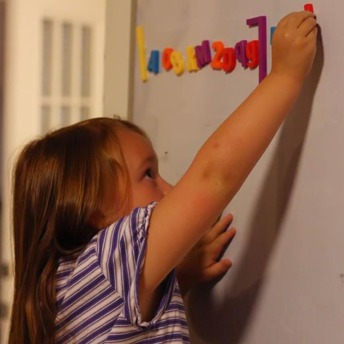 Whiteboard on the door.